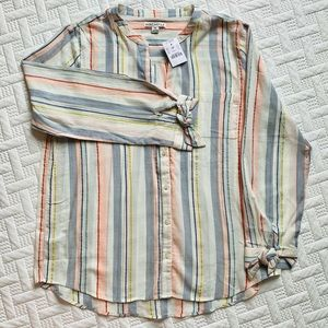 Pastel Strip Linen Blouse